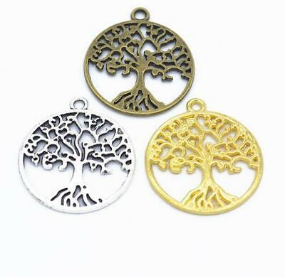 10X retro alloy round life tree pendant DIY necklace jewelry material accessory
