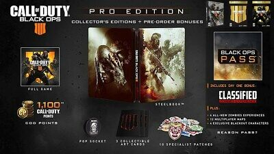 Call Of Duty Black Ops 4 Pro edition - PS4 SteelBook Zombies Season Pass NEW