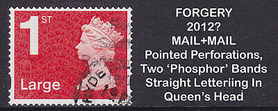 2012? Machin 1st Class Large Red FORGERY MAIL+MAIL Used Stamp **EXTREMELY RARE**