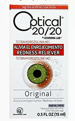 1 Optical 20/20 Orginal Redness Eye Drops 0.5 Oz ONE Collectible New Sealed Rare