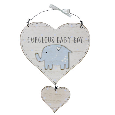 Heart Shaped Hanging Plaque Gorgeous Baby Boy Blue Elephant New Baby