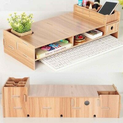 Multi-function Desktop Monitor Stand Computer Screen Riser Wood Shelf Plinth