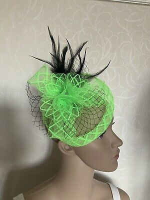 Lime Green Black Feather Hair Clip Small Fascinator Ladies Race Day Wedding