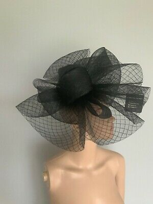 Extra Large Black Statement Fascinator Clip Wedding Ladies Day Accessories