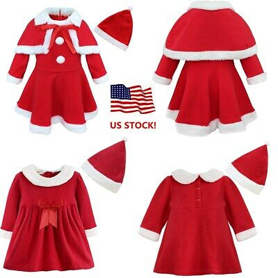US Girls Baby Christmas Romper Santa Claus Costume Dress Outfit Holiday Clothes