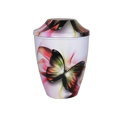 White Butterfly Large Urn For Ashes Cremation Urn Adult Memorial FREE ASHES BAG
