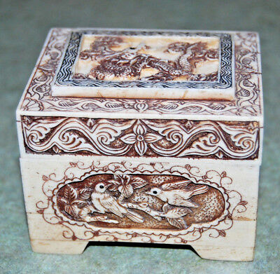 Chinese Box Carved Dresser Trinket Birds Dragon