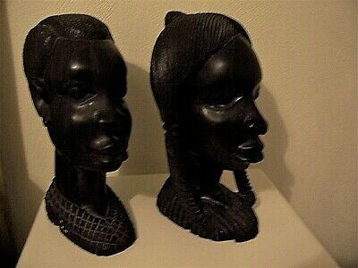"Reduced Beautiful"" Large"" Antique Hand Carved Ebony African Heads Primitive M&F"