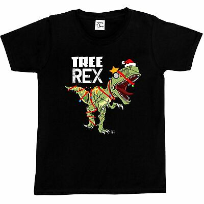 1Tee Kids Boys Tree Rex - Caught in Christmas Lights and Tinsel T-Shirt