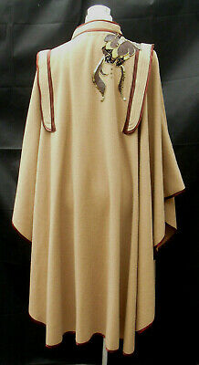 1980s vintage cape tan warm brown wool blend with applique details Small- Medium