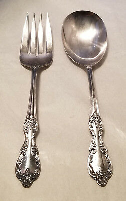 Antique Original Wm Rogers Mfg Co Extra Plate Silver Serving Spoon & Fork