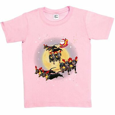 1Tee Kids Girls Santas Sleigh Pulled by Dogs T-Shirt