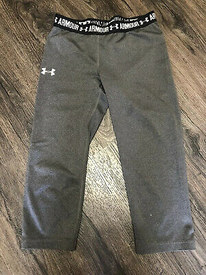 "Girls Under Armour Gray Cropped Athletic Pants 21"" x 16"""