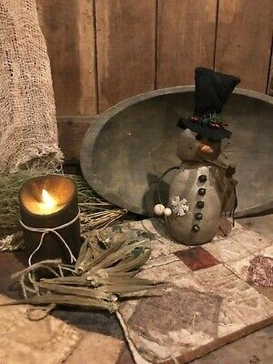 Primitive Country Snowman Cupboard Tuck Farmhouse Homestead CHRISTMAS Winter
