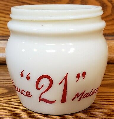 "1960's ""21"" Club Milk Glass Sauce Maison Jar"