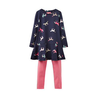 Joules Junior Girls Kids Iona Tunic And Legging Set, Navy Horses