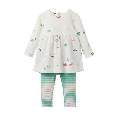 Joules Junior Baby Girls Christina Dress And Legging Set, Cream Farmyard