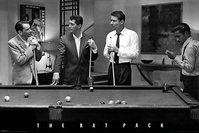 The Rat Pack Poster 24 x 36 Sinatra Martin Davis Jr Lawford Pool Billiards Print