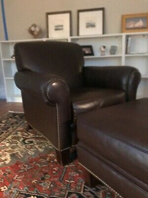 Superb Pottery Barn Leather Chair Burnished Walnut 90 00 Picclick Caraccident5 Cool Chair Designs And Ideas Caraccident5Info