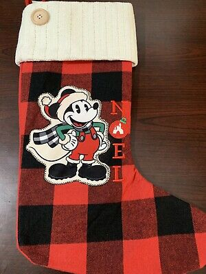 Disney Parks Mickey Mouse 2019 Plaid Christmas Holiday Noel Stocking NEW