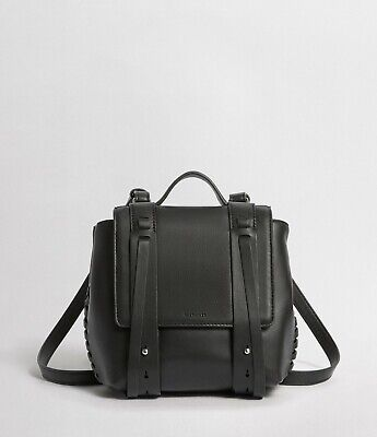 ALLSAINTS Fin Leather Mini Backpack in Black, Small Racksack NEW