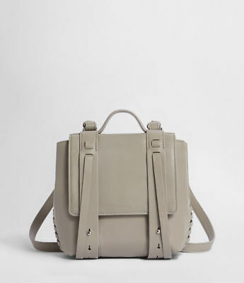 ALLSAINTS Fin Leather Mini Backpack in Natural Grey, Small Racksack BRAND NEW