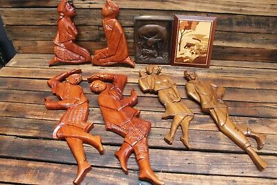 Vintage Mid Century Timber Wooden Wall Dancers Art Teak Carving Hanging Retro