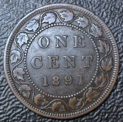 OLD CANADIAN COIN 1891 LDLL - ONE CENT - LARGE CENT - BRONZE - Victoria