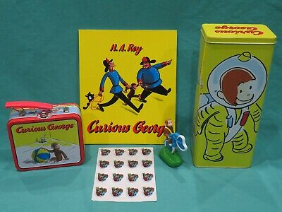 Vintage 1990's Curious George Lot Tin, Figure, Metal Lunch Pail, Book & Stickers