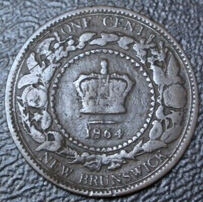OLD CANADIAN COIN 1864 NEW BRUNSWICK - ONE CENT - BRONZE - Victoria