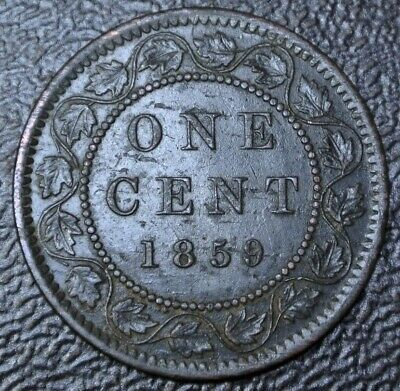 OLD CANADIAN COIN 1859 ONE CENT LARGE CENT - BRONZE - Victoria