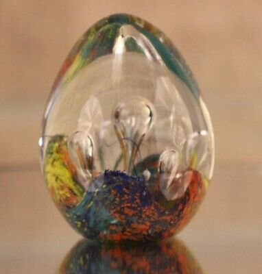 Vintage hand Blown mini egg bubble multicolor yellow blue green paperweight