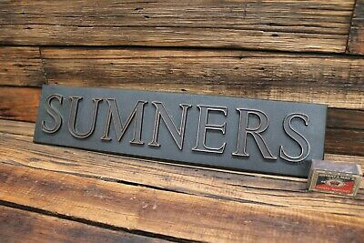 Vintage Heavy Cast Bronze House Name Plate Sign 'SUMNERS' Home Estate