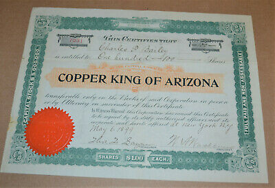 Copper King of Arizona 1899 antique stock certificate