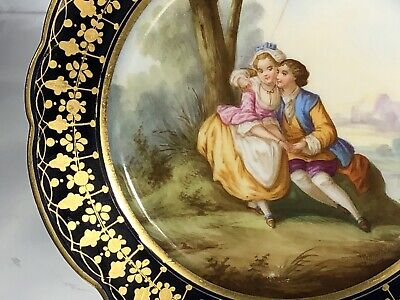 Pair 19th Century French Porcelain Cabinet Plates Sevres Style Antique