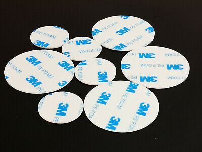3M  Double Sided Circle PE Foam White Pad Self Adhesive Round 30mm 50mm