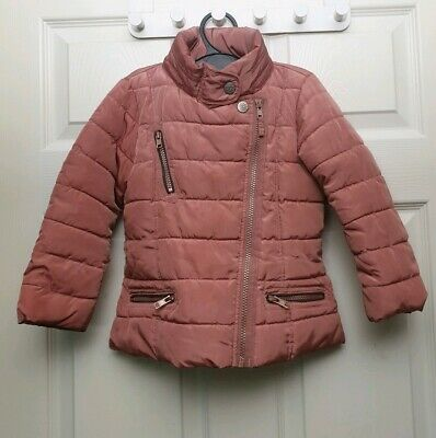 Next Dusty Pink Girls Hooded Puff Zip Up Coat Size 3-4 Years