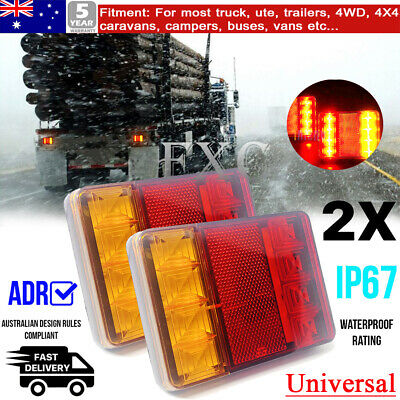 2X 12/24V LED Square Tail Light Trailer Truck Boat Number Taillight Marine Light