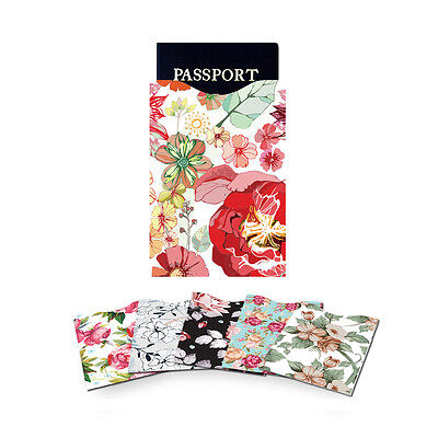 Blocking 5 ID Credit Card & 1 Passport Holder Protector Sleeves Flowers GO9X