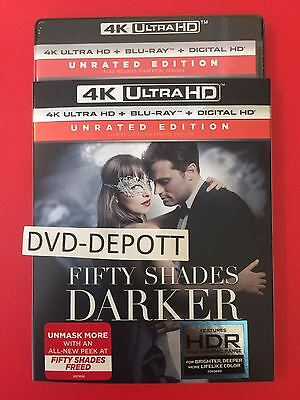 Fifty Shades Darker 4K Ultra HD + Blu Ray + Digital HD & MINT Slipcover New!