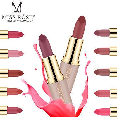 MISS ROSE Lipstick Matte Waterproof Long Lasting Lip Gloss Beauty Makeup 15Color