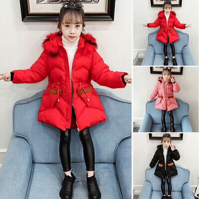 Girls Kids Padded Quilted Winter Coat Jacket Fur Hooded Long Parka Warm Overcoat
