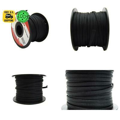 Black 1 4 100Ft Braided Expandable Flex Sleeve Wiring Harness Loom Wire Cover