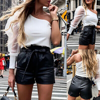 UK Womens High Waist Leather Shorts Wet Look Hot Pants Ladies Strappy Trousers