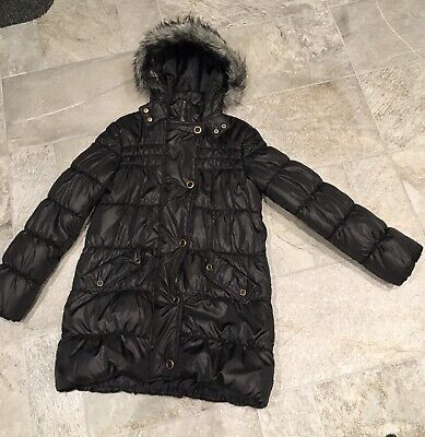 GIRLS M&S BLACK PADDED QUILTED PUFFA FUR TRIM HOODED WARM ZIP UP COAT 11-12 Year