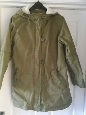 Girls Next khaki green Parker with fleece lining age 12yrs