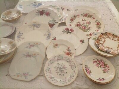 Job Lot Of Mismatched Side Plates, Saucers and Large Cake / Sandwich Plates
