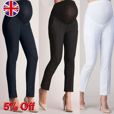 UK Pregnancy Women Over Bump Trousers Jeans Maternity Stretch Stright Long Pants