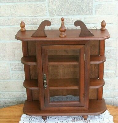 Vintage Wood Glass Door Table Top/Wall Hanging Display Curio Cabinet 3 Shelf 17""