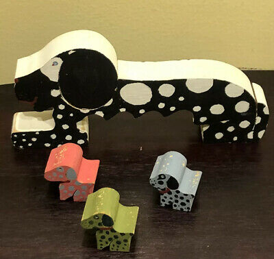 """Vintage Hand Painted Wood Carved 7x3.5"""" Dog Figure And 3 Puppies"""